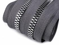 Zips kostený so striebornými zúbkami šírka 8 mm metráž