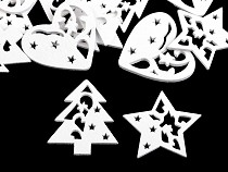 Dřevěná vánoční hvězda, srdce, stromeček