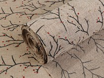 Imitation Jute Fabric width 48 cm twigs with glitter