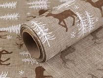 Material textil decorativ, imprimeu cerbi, lățime 48 cm