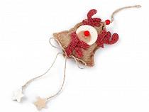 Vánoční jutová dekorace sněhulák, sob