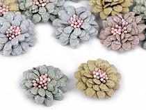 Flori textile cu lurex 3D, Ø35 mm