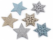 Decorative Stars and Snowflakes with Glitters