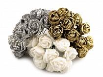 Vánoční růže na drátku s glitry