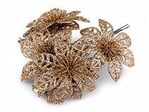 Karácsonyi csillag Ø7 mm dróton glitterekkel