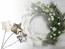 Vánoční dekorační hvězda na drátku s glitry Ø20 mm