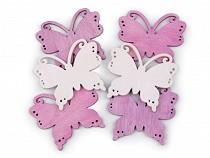 Schmetterling aus Holz, Vogel zum Aufhängen / Aufkleben