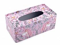 Plechový zásobník / box na kapesníky jenorožec