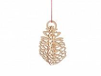 Vánoční dřevěná ozdoba / výřez 3D šiška