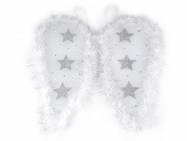 Angel Wings with Feathers and Glitter Stars