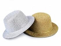 Mini klobúčik /  fascinátor s lurexom na dozdobenie Ø13,5 cm