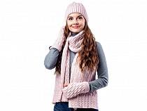 Komplet damski zimowy czapka, szalik i rękawiczki