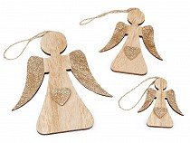 Drevený anjel s glitrami sada 3 ks