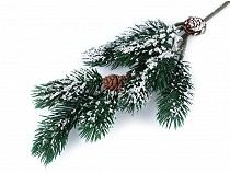 Artificial Frosted Pine Twig with Cones