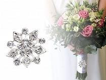 Brošňa / svadobná ozdoba na kytice s brúsenými kamienkami kvet, vločka