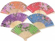 Fächer aus Holz und Textil Blüten