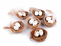 Decorative Nest with Quail Eggs and Feathers