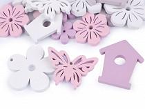 Dekoracja drewniana kwiatek, motyl, budka dla ptaków - zestaw
