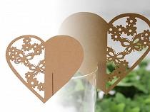 Papier Namensschild für Gläser Herz natürlich, perlmuttfarben