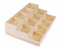 Fa plató 3 szintes ékszerek / gyöngyök kiállítására 24x35,5 cm