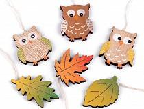 Wooden Hang Decoration Owl, Leaf