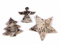 Dekoration aus Birkenrinde Stern, Engel, Baum