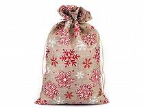 Darčekové vianočné / mikulášske vrecúško vločky s glitrami 20,5x30,5 cm imitácia juty
