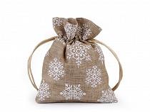 Vánoční dárkový pytlík vločky s glitry 10x13 cm imitace juty