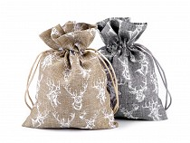Gift Bag with Deer and Glitter 13x18 cm