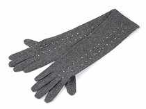 Ladies Long Wool Gloves with Studs