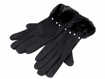 Ladies Gloves with Fur Pom Pom and Beads