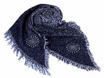 Šál zimný so strapcami a vločkou 65x200 cm