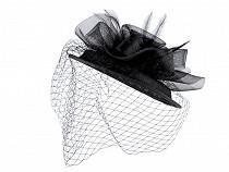 Fascinátor / klobúčik kvet s perím a francúzskym závojom