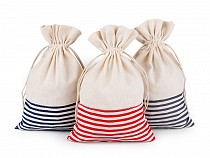 Linen Bag with Stripes 18.5x28 cm