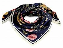 Batic / Eşarfă satinată cu motiv floral, 70x70 cm