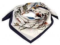Batic / Eşarfă satinată cu motiv floral, 90x90 cm