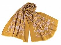 Šála teplá s geometrickým vzorem 65x190 cm