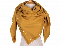 Pareo / Oversized Scarf with Pearl Beads 120x120 cm