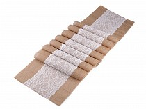 Jute Table Runner / Tablecloth with Lace 30x270 cm