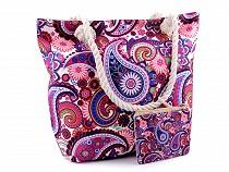 Letná / plážová taška mandala, Paisley s taštičkou 39x50 cm