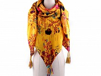 Floral Scarf with Tassels 125x125 cm