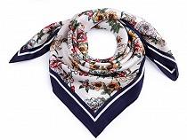 Batic / Eșarfă satinată cu motiv floral, 70x70 cm