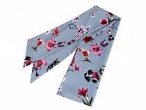 Narrow Scarf for Head / Neck / Purse, Meadow Flowers