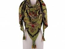Foulard à pompons, Fleurs Cachemire, 130 x 130 cm