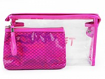 Cosmetic Bag Set - Transparent and Holographic, 2pcs