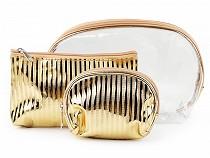 Cosmetic Bag Set - Transparent and Metalic, 3pcs