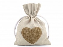 Cotton Drawstring Bag Heart 13x18 cm