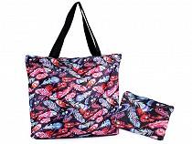 Folding Shopping Tote with Zipper 41x46 cm