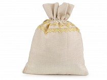 Gift bag gray with gold lace 30x40 cm