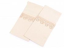 Bavlnené vrecko na príbor s čipkou 10x21 cm
